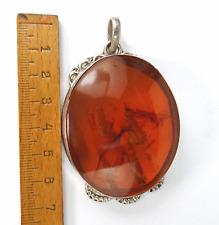 Antiker Bernstein Silber Anhänger 7, cm im Jugendstil Baltic Amber Pendant 43 g