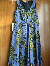"NWT Anne Klein ""Tropical Tango""Sleeveless Lined 100% Silk Dress French Blue Sz 6"
