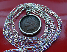 """Classic US Antique Indian Head Liberty Penny on a 30"""" 925 Sterling Silver  Chain"""