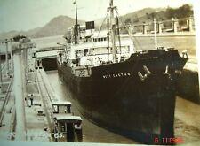 1942 Panama Canal MIRAFLORES double lock Photo Postcard West Cactus Cargo Ship