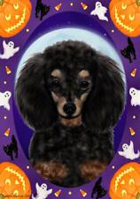 Poodle Phantom Black & Tan Halloween Howls Flag