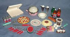Vtg Lot TYCO Kitchen Littles 47pc Food Pizza Pasta Popcorn Watermelon Barbie 1:6