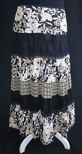Women's Bandolino Full Length Lined Peasant skirt Sz 8 Black & White Floral Lace