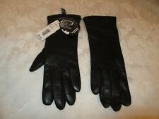 Dillards Exclusive Black Leather Classic Smart Gloves Size 7 NWT