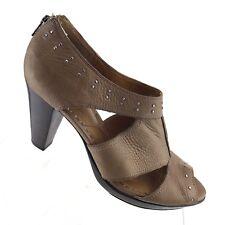 Clarks Indigo Bardolino Brown Leather Zipper Studded Heels Womens Shoe SIZE 9 M