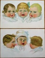 PAIR 1915 Color Litho Postcards: Babies Crying, Insect, Pacifier
