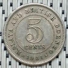*GOOD Grade* 1961 - Malaya - 5 Cents Elizabeth II #CBQX