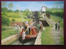 POSTCARD LEICESTERSHIRE FOXTON FLIGHT GRAND UNION CANAL  W/COLOUR