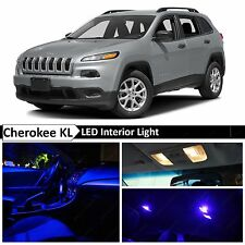 2014-2015 Jeep Cherokee KL Blue Interior + License Plate LED Lights Package Kit