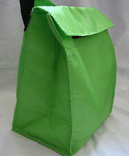 Reusable Insulated LUNCH BAG - LIME GREEN - Tab Closure - Front Pocket