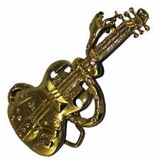 Buckle Gürtelschnalle goldfarben Gitarre mit Schlange für Wechselgürtel bis 4 cm