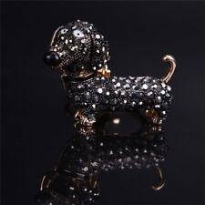 Bling Crystal Dog Dachshund Keychain Purse Pendant Car Holder Key Ring M&C
