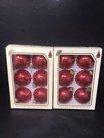 "VTG Christmas By Krebs Vintage Red Xmas Ornaments Designer Glass W/Crowns 2-3/4"""