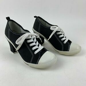 Soda Canvas Lace Up High Heeled Sneakers Women's Size 8 Round Toe Black