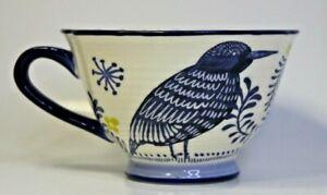 Anthropologie Saga Bird Tea Cup Mug Blue White Gather Round Earthenware set of 3
