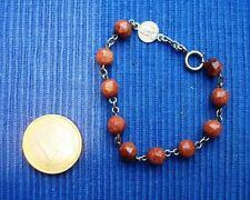 B16 BRACELET DIZAINIER ANCIEN Perles Aventurine DE COMMUNION CHAPELET medaille
