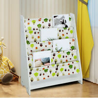 Baby Bookshelf Children's Magazine Rack Picture Book Shelf Storage Rack White US