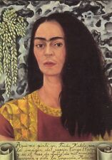 Frida Kahlo Illustrated Postcard - Self Portrait - Posted from Mexico to USA