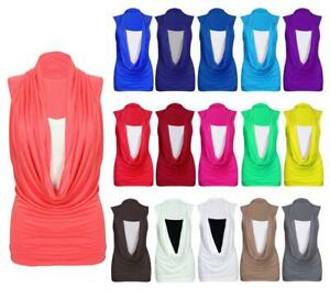 LADIES GATHERED COWL NECK STRETCH TOP WOMENS SLEEVELESS LONG VEST TOP SIZE 8-26