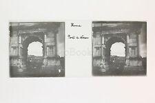 Rome Porte de Néron Italie Italia Plaque de verre Stéréo positive ca 1905