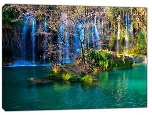 Waterfall Trees nature Picture Print on Framed Canvas Wall Art Home Decoration