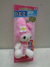 HELLO KITTY MY MELODY PLUSH BUNNY PEZ NEW ON CARD KEYCHAIN CLIP EASTER