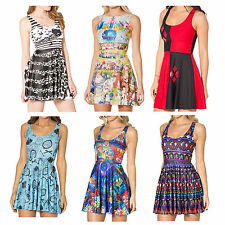 Summer Ladies Reversible Skater Dress Cartoon Print Sleeveless Casual Play Dress