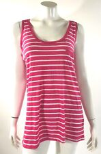 92fa41c69e0c1 Forever 21 Tank Top Size Large Pink White Striped Sleeveless Pocket Shirt  Womens