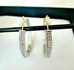 Judith Ripka Sterling Silver & 18K Gold w Diamonds Large Hoop Earrings Gift Box