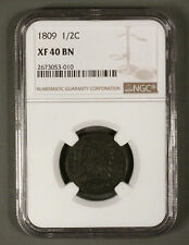 1809 CLASSIC HEAD Half Cent NGC XF40 Brown 30° Reverse Rotation