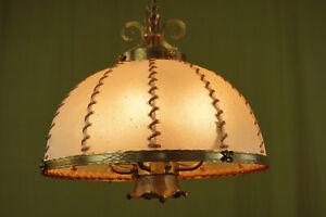 70er Vintage Designer Ceiling Light Brutalist Regency Brass Lamp