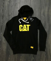 Caterpillar felpa uomo black con cappuccio e stampa logo Cat 100% cotone
