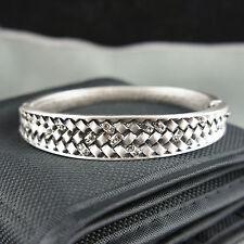 Silver filigree antique style with Swarovski crystals vintage bangle bracelet