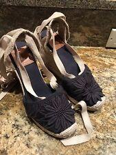 Tory Burch Emil Wedge Espadrille Sandal Shoe Lace Up  Navy ~ SZ: 6.5