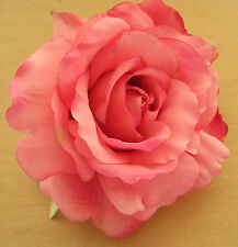 """Large 5"""" Coral Pink Silk Rose Silk Flower Hair Clip, Wedding,Prom,Bridal,Party"""