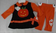 Halloween Infant Rare Editions 2 Pc Set Black Orange Shirt Pants Size 6 months