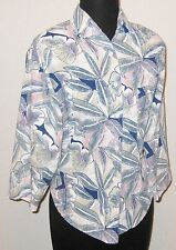 "Hot Stuff Pink Blue Leaf Design Button Front 40"" Bust Short Sleeve Shirt Blouse"