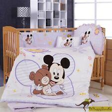 Baby Boys Girls 8 Pieces Disney Mickey 40S Cotton Nursery Bedding Crib Cot Sets
