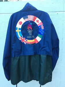 1996 SPEEDO ATLANTA OLYMPICS HOODED BLUE GREEN WINDBREAKER SZ M