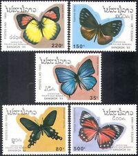Laos 1993 Farfalle/Insetti/NATURA/Farfalla/conservazione/stampex 5 V Set b8121