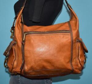 FOSSIL LONG LIVE VINTAGE Heritage Brown Leather Hobo Shoulder Shopper Bag Purse