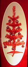 "2 FT DARK PINK TINSEL CHRISTMAS TREE w/ 15 ORNAMENTS ~ 53 TIPS ~ 12"" BASE ~ NEW"