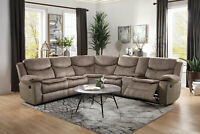 NEW Motion Sofa Sectional Brown Microfiber Reclining Living Room Couch Set IF50