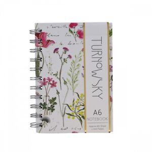 Turnowsky Colourful Garden A6 Lined Spiral Hardback Notebook Stationery 10x15cm
