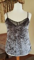 LADIES CRUSHED VELVET STRAPPY GREY TOP FROM NEXT SIZE  18 - SUMMER