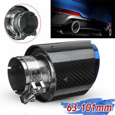 """1Pcs ID:2.5"""" 63mm OD:4"""" 101mm Glossy Blue Carbon Fiber Exhaust Pipe Tip Auto Car"""