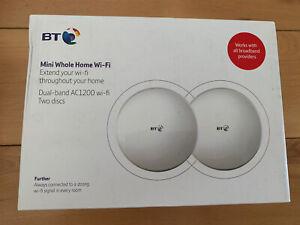BT Mini Whole Home Wi-Fi Mesh Network Twin Pack 2 Discs AC1200 UK Model New
