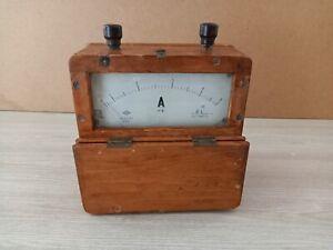 Vintage wooden large ammeter 1950 USSR. Working