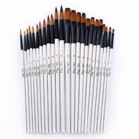 12Pcs Artist Watercolor Painting Brushes Brush Oil Acrylic Flat&Tip Paint Kit