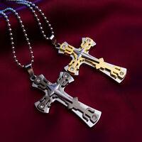 Gift Unisex's Men Women Gold Silver Stainless Steel Cross Pendant Necklace Chain